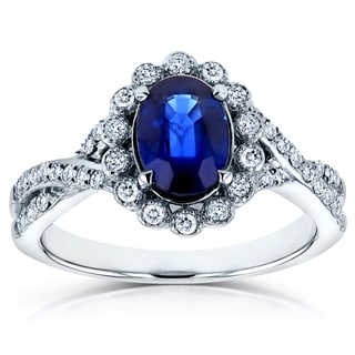 Annello 14k White Gold Oval Blue Sapphire and 1/4ct TDW Diamond Antique Ring (H-I, I2)