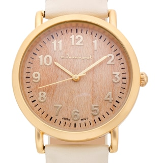Jeanneret Women's Amelia Wood Dial Watch with White Leather Strap