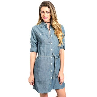 Shop the Trends Women's 3/4 Folded Sleeve Button Down Denim Dress