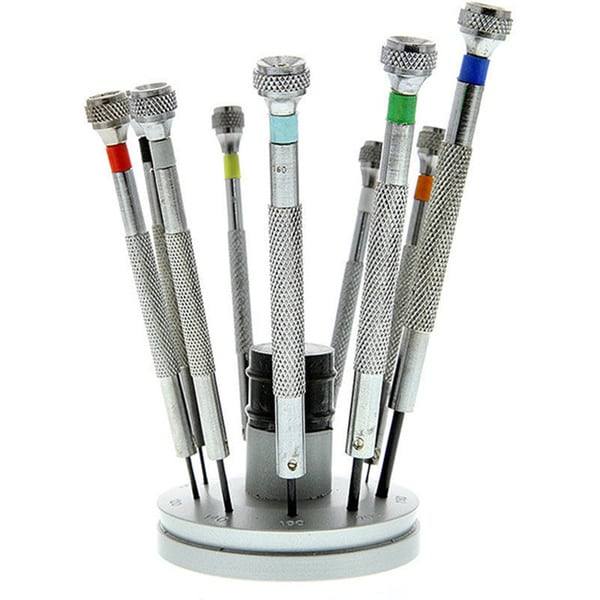 9pc Micro Precision Screwdriver Set 0.5mm - 2.5mm with Stand & Replacement Tip