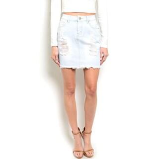 Shop the Trends Women's High Waisted Distressed Denim Skirt