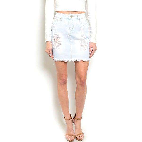 Shop the Trends Women's High Waisted Distressed Denim Skirt