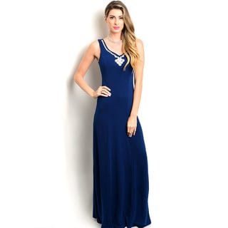 Shop the Trends Women's Sleeveless Embellished Neck Gown