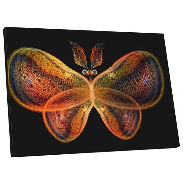 Pop Art 'Glowing Plasma Butterfly' Gallery Wrapped Canvas Wall Art