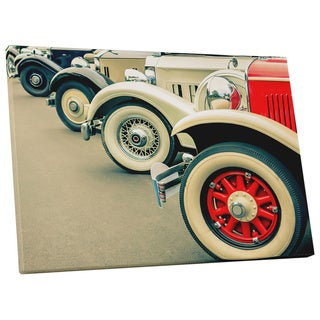 Pop Art 'Vintage Cars Wheel Zoom' Gallery Wrapped Canvas Wall Art