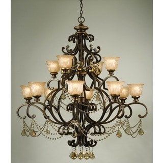 Crystorama Norwalk Collection 12-light Bronze Umber/Golden Teak Crystal Chandelier