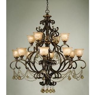 Crystorama Norwalk Collection 12-light Bronze Umber/Golden Teak Crystal Chandelier