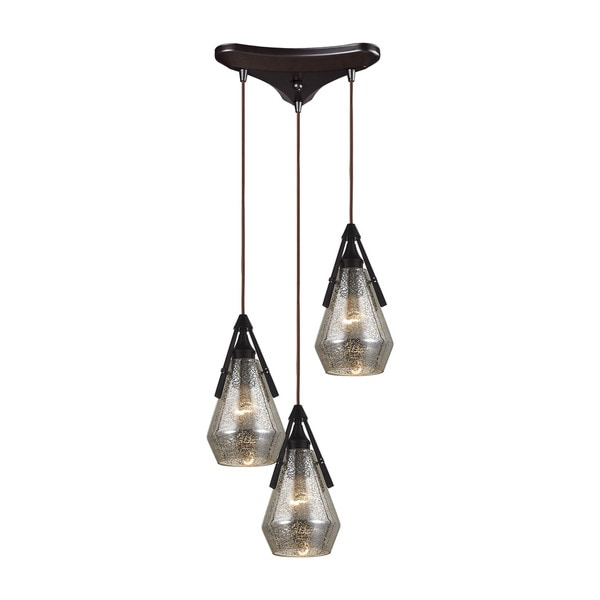 Elk Duncan 3-light Pendant in Oil Rubbed Bronze and Antique Mercury Glass