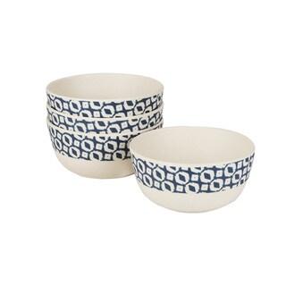 Caribbean Joe Geo Navy Set of 4 Snack Bowls