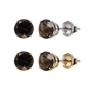 10k White or Yellow Gold 6mm Round Smoky Quartz Stud Earrings