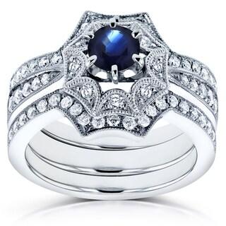 Annello 14k White Gold Sapphire and 1/2ct TDW Diamond Bridal Set (H-I, I1-I2)