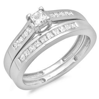 14k White Gold 1/2ct TDW Princess Diamond Bridal Engagement Ring Matching Band Set (H-I, I1-I2)