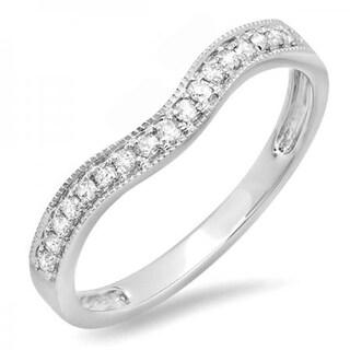 14k Gold 1/5ct TDW Round Diamond Anniversary Wedding Band Guard Ring (I-J, I2-I3)