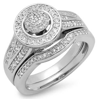 Sterling Silver 1/2ct TDW Round White Diamond Split Shank Engagement Ring Set Wedding Band (I-J, I2-I3)