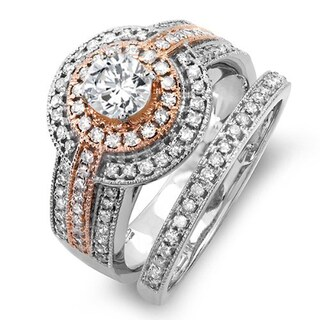 14k Two Tone Rose Gold 1 1/6ct TDW Round Diamond Engagement Bridal Ring Set With Matching Band (H-I, I1-I2)