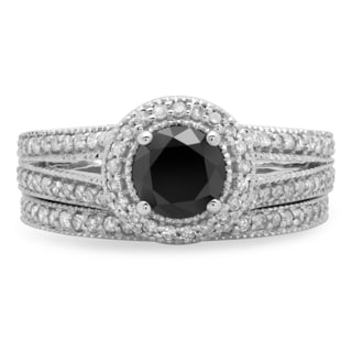 14k White Gold 1 1/4ct TDW Round White and Black Diamond Halo Engagement Ring Set (H-I, I1-I2 and Opaque)