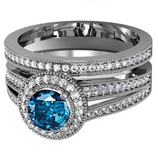 14k Gold 1 1/4ct TDW Round White And Blue Diamond Split Shank Halo Bridal Engagement Ring Set (H-I and Blue, I1-I2)