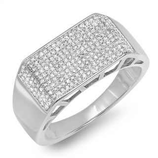 Platinum Plated Sterling Silver 7/8ct TDW Round Cut Diamond Men's Anniversary Wedding Ring (I-J, I2-I3)