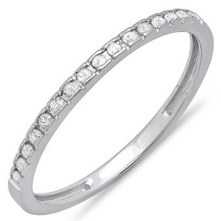 14k White Gold 1/8ct TDW Round Diamond Anniversary Wedding Band Stackable Ring (I-J, I2-I3)