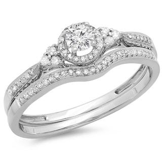 14K Gold 1/3 ct. TDW Round Diamond Ladies Halo Style Bridal Engagement Ring Matching Band Set 1/3 CT (H-I, I1-I2)