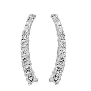 14k White Gold 1/4ct TDW Round Cut White Diamond Crawler Climber Earrings (I-J, I2-I3)