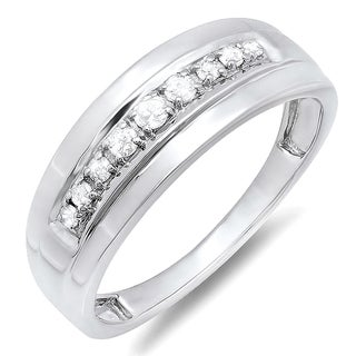 Sterling Silver 1/4ct TDW Round Diamond Men's Wedding Anniversary Band Ring (I-J, I2-I3)