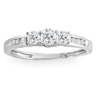 14k White Gold 3/8 ct TDW Round Diamond 3 stone Engagement Bridal Ring
