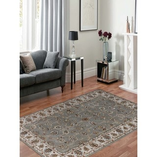 Hand-tufted Twilight Silver/ Sand New Zealand Wool and Art Silk Rug (5' x 8')
