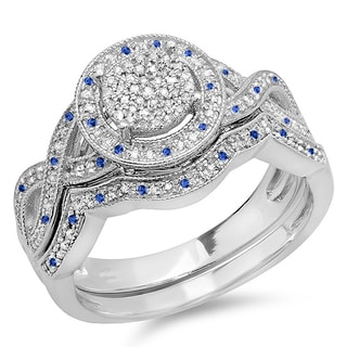 Sterling Silver Blue Sapphire and 1/2ct TDW White Diamond Micro Pave Engagement Ring Set (I-J, I2-I3 and I1-I2)