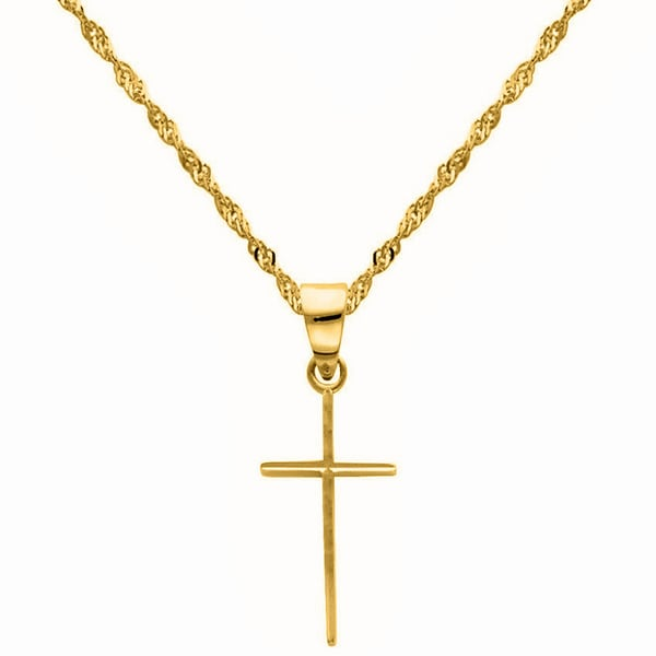 14k Yellow Gold Slender Cross Pendant and Singapore Chain Necklace