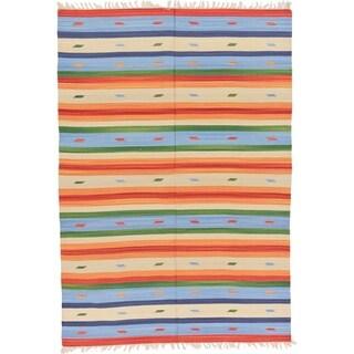 Unique Loom Blue Hand-woven Kilim Dhurrie Tribal Oriental Rug (5'7 x 7'10)