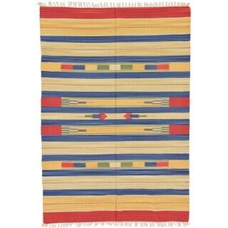 Unique Loom Cream Hand-woven Kilim Dhurrie Tribal Oriental Rug (5'7 x 7'10)