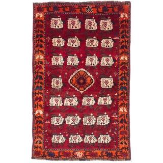 Ecarpetgallery Hand-knotted Persian Shiraz Qashqai Red Wool Rug (4'9 x 7'6)
