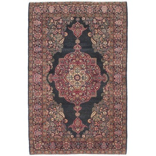 Ecarpetgallery Hand-knotted Persian Yazd Blue Red Wool Rug (4'6 x 7'1)