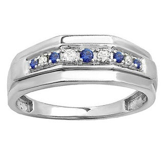 Sterling Silver Round Blue Sapphire and 1/4ct TDW White Diamond Men's Wedding Band (I-J and Blue, I2-I3 and I1-I2)