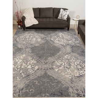 Hand-tufted Naomi Steel Blue New Zealand Wool and Art Silk Rug (7'6 x 9'6)