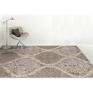 Hand-tufted Naomi Steel Grey New Zealand Wool and Art Silk Rug (9' x 13')