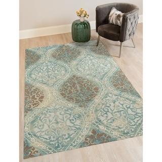 Hand-tufted Naomi Aqua New Zealand Wool and Art Silk Rug (7'6 x 9'6)