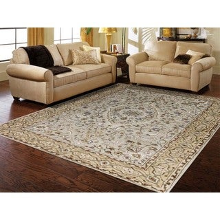 Hand-tufted Twilight Ivory/ Gold New Zealand Wool and Art Silk Rug (7'6 x 9'6)