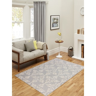 Hand-tufted Salome Platinum New Zealand Wool and Embossed Art Silk Trellis Rug (7'6 x 9'6)
