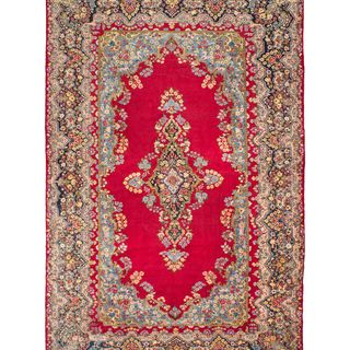 ecarpetgallery Hand Knotted Persian Kerman Red Wool Rug (9'9 x 15'3)