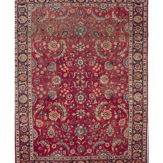 ecarpetgallery Hand Knotted Persian Yazd Red Wool Rug (9'3 x 12'3)