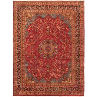 ecarpetgallery Persian Sabzevar Blue/ Red Wool Rug (9'7-inch x 12'9-inch)
