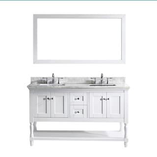 Virtu USA Julianna 60-inch White Double Bathroom Vanity Cabinet Set