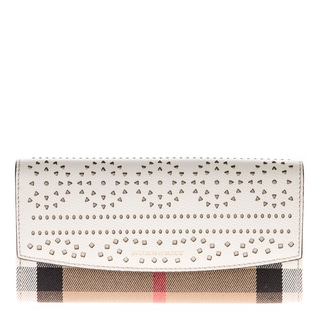Burberry House Check and Laser-Cut Lace Leather Continental Wallet