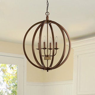 Benita Antique Brass Metal 4 Lights Orb Chandelier