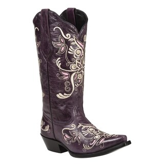 Black Star Women's Costilla Purple Leather Boots