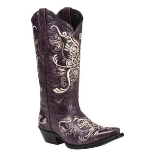Black Star Women's Costilla Purple Leather Boots