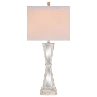 Catalina 19116-001 3-Way 32-Inch Mirrored Triangle Square Linen Hardback Shade Table Lamp