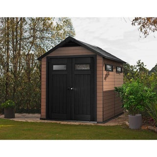 Keter Fusion Large 7.5 x 9-foot Wood and Plastic Outdoor Yard Garden Composite Storage Shed